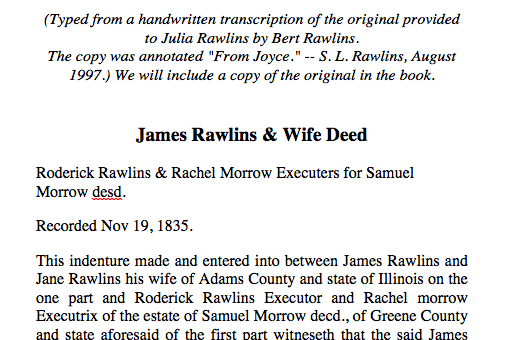 James Rawlins and Jane Sharp Deed