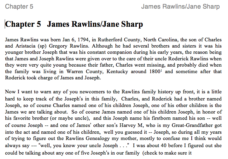 James Rawlins and Jane Sharp History